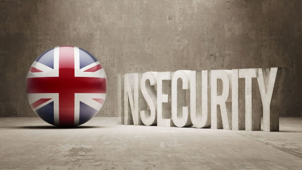 "UK Flag in a ball to the left of the image. The word ""insecurity"" is to the right in capital letters. All on top of a rustic background"
