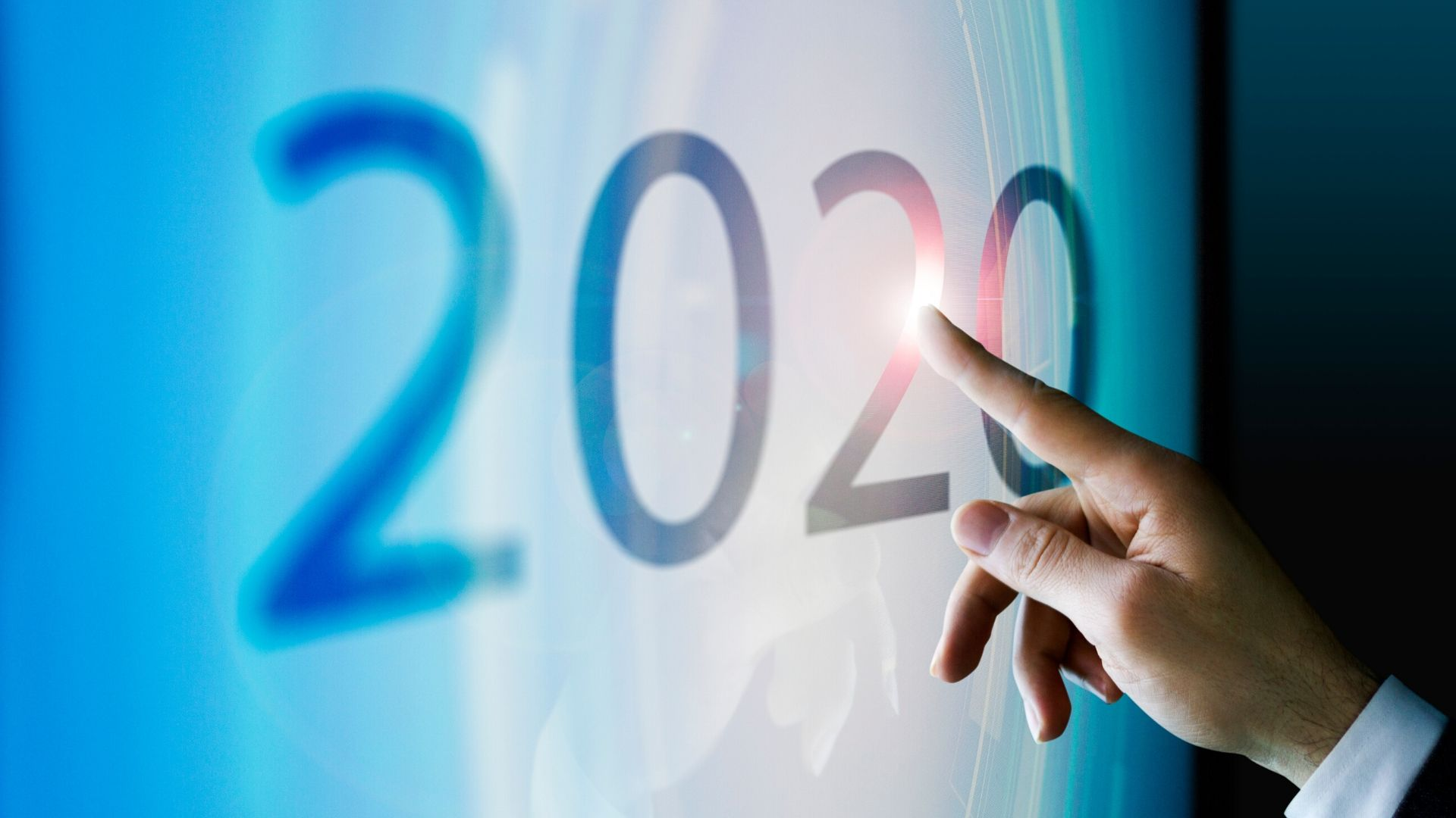 image of the numbers 2020 on frosted glass