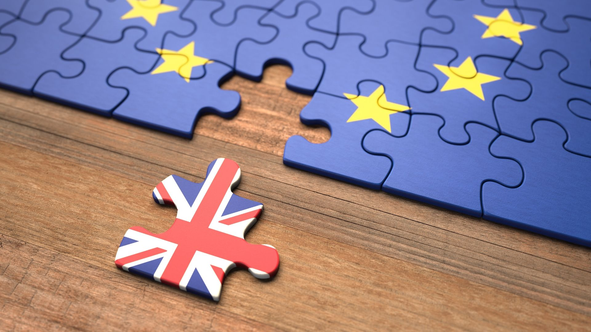 eu flag as a jigsaw with one piece missing that is the union jack flag